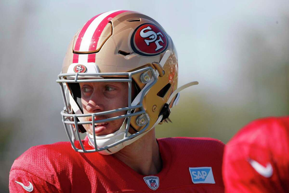 San Francisco 49ers tight end George Kittle takes part in drills at NFL football training camp in Santa Clara, Calif., Tuesday, Aug. 3, 2021. (AP Photo/Josie Lepe)