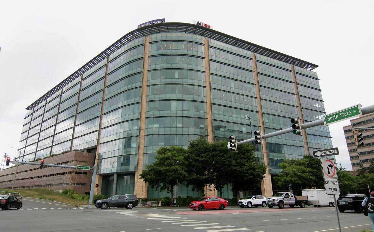 UBS, one of the world's largest banking companies, has offices in this building at 600 Washington Blvd., in downtown Stamford, Conn. The company's headcount in Connecticut has dropped by more than 50 percent in the past 10 years.