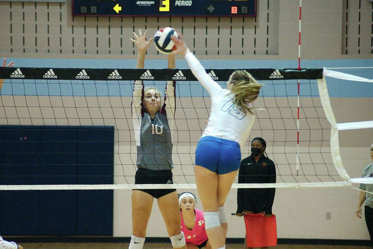 Pearland's Madie Whitehead (10), shown here against Austin Westlake, had six kills, 11 digs, two blocks and an ace in the Lady Oilers' sweep of Summer Creek Friday night.
