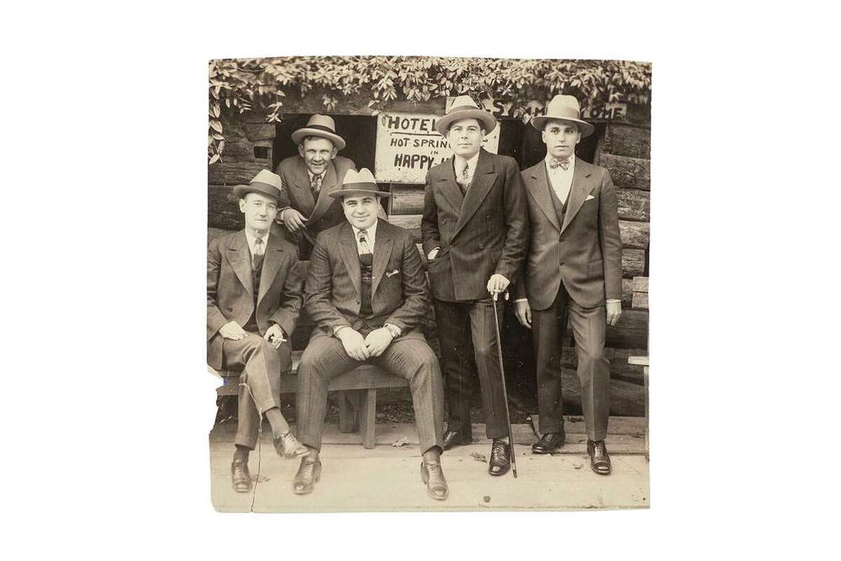 A vintage silver print photograph of Al Capone and some of his associates at Hot Springs, Arkansas, one of several items going up for auction.