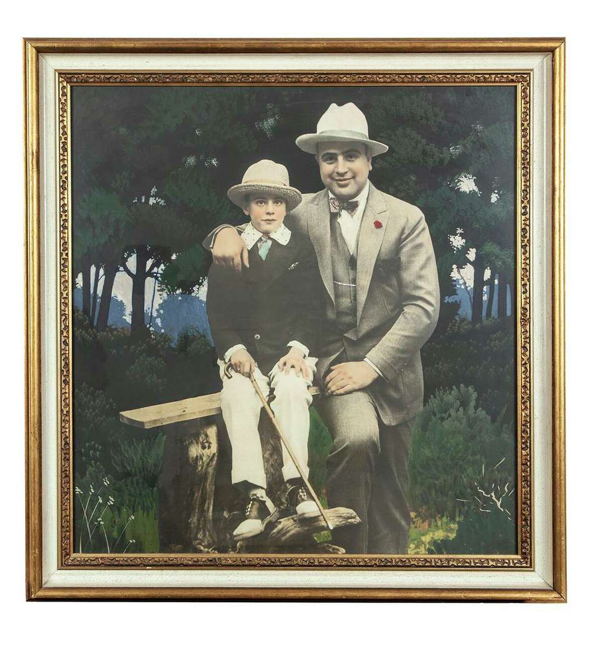 A hand-colored silver print of Al Capone and Sonny Capone is one of the items going up for auction.