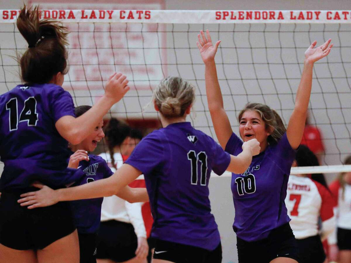 Willis' Savannah Paske (10) reacts after scoring a point in the first set during a non-district high school volleyball match at Splendora High School, Friday, Aug. 20, 2021, in Splendora.