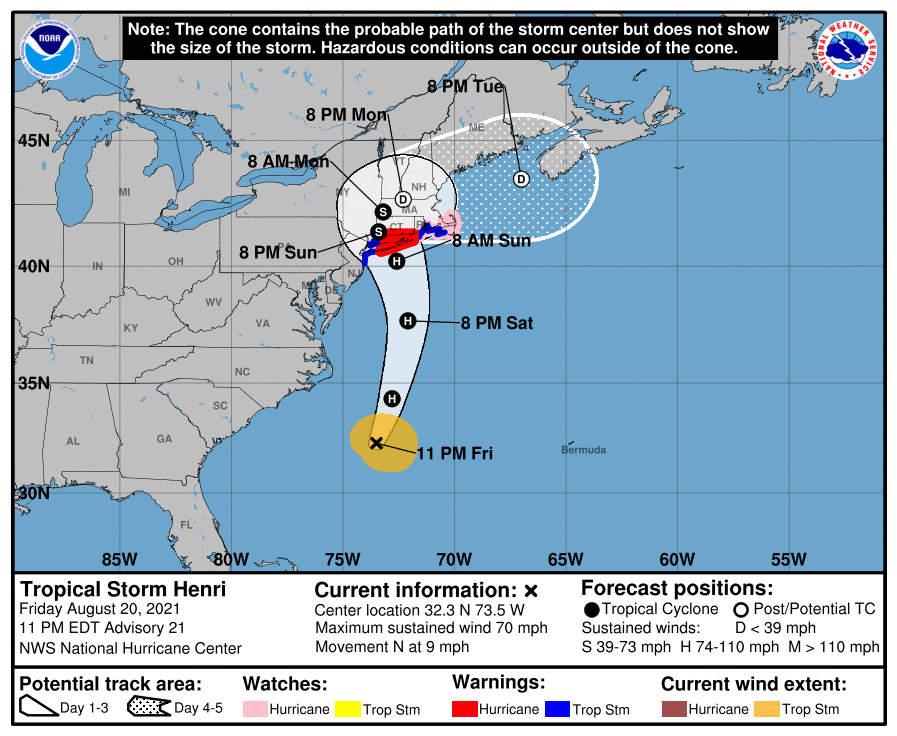 A map showing the center of Tropical Storm Henri near latitude 32.3 north, longitude 73.5 west.