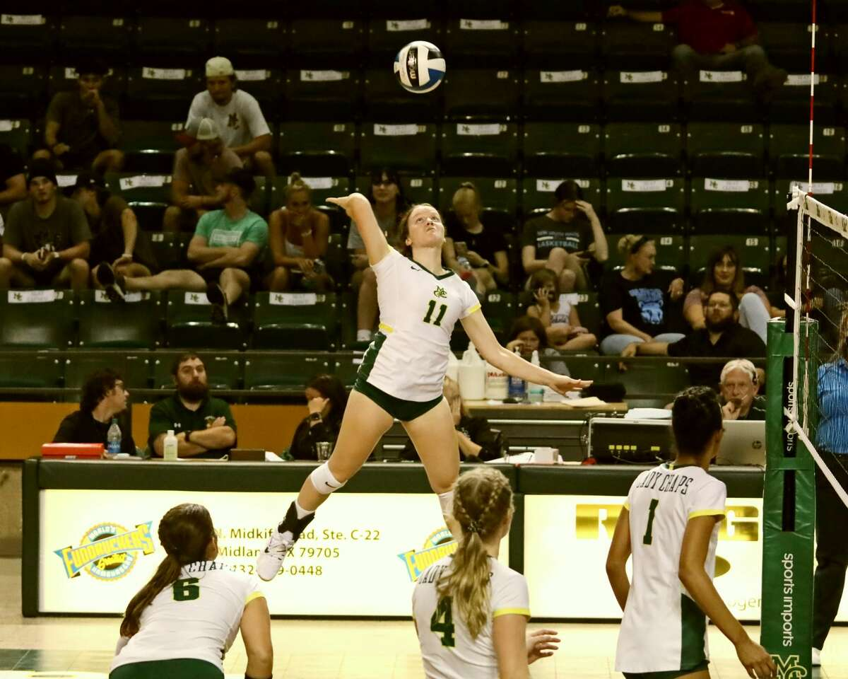 Midland College's Megan Runyan on the attack versus North Central Texas College on Friday at Chaparral Center.