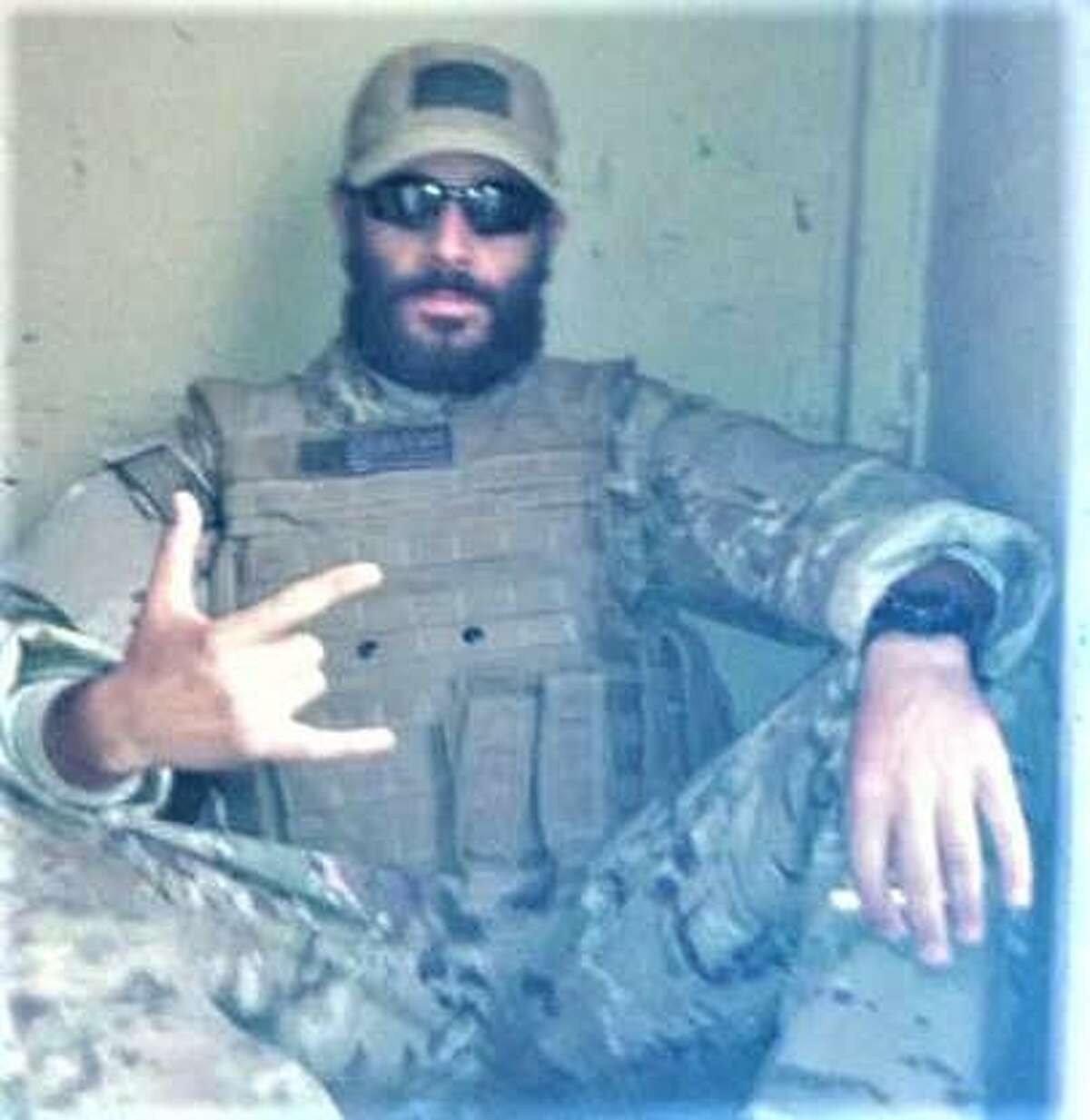 Alex Plitsas, chairman of the Fairfield Republican Town Committee, during a deployment to Afghanistan in 2012 as a defense civilian intelligence officer, after a tour of duty with the Army in Iraq.