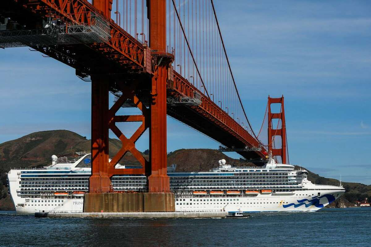 The Grand Princess cruise ship which has been held offshore since the first coronaviruses cases were identified on Thursday enters the San Francisco Bay on Monday, March 9, 2020 in San Francisco, California.