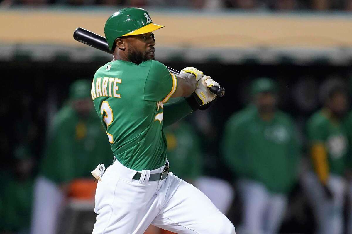The A's Starling Marte was center stage in the seventh inning with an RBI double and baserunning that caused an error.