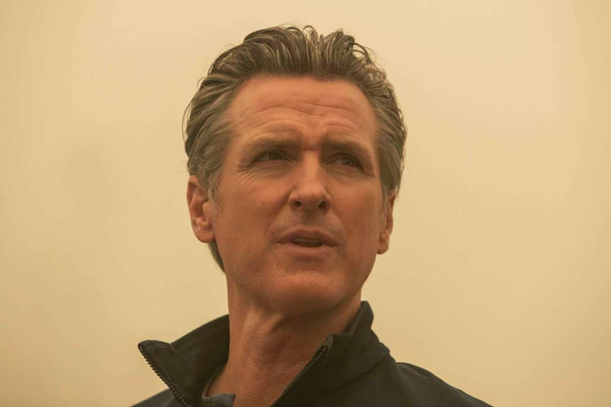 Gov. Gavin Newsom visiting the community of Greenville in the wake of the Dixie Fire.