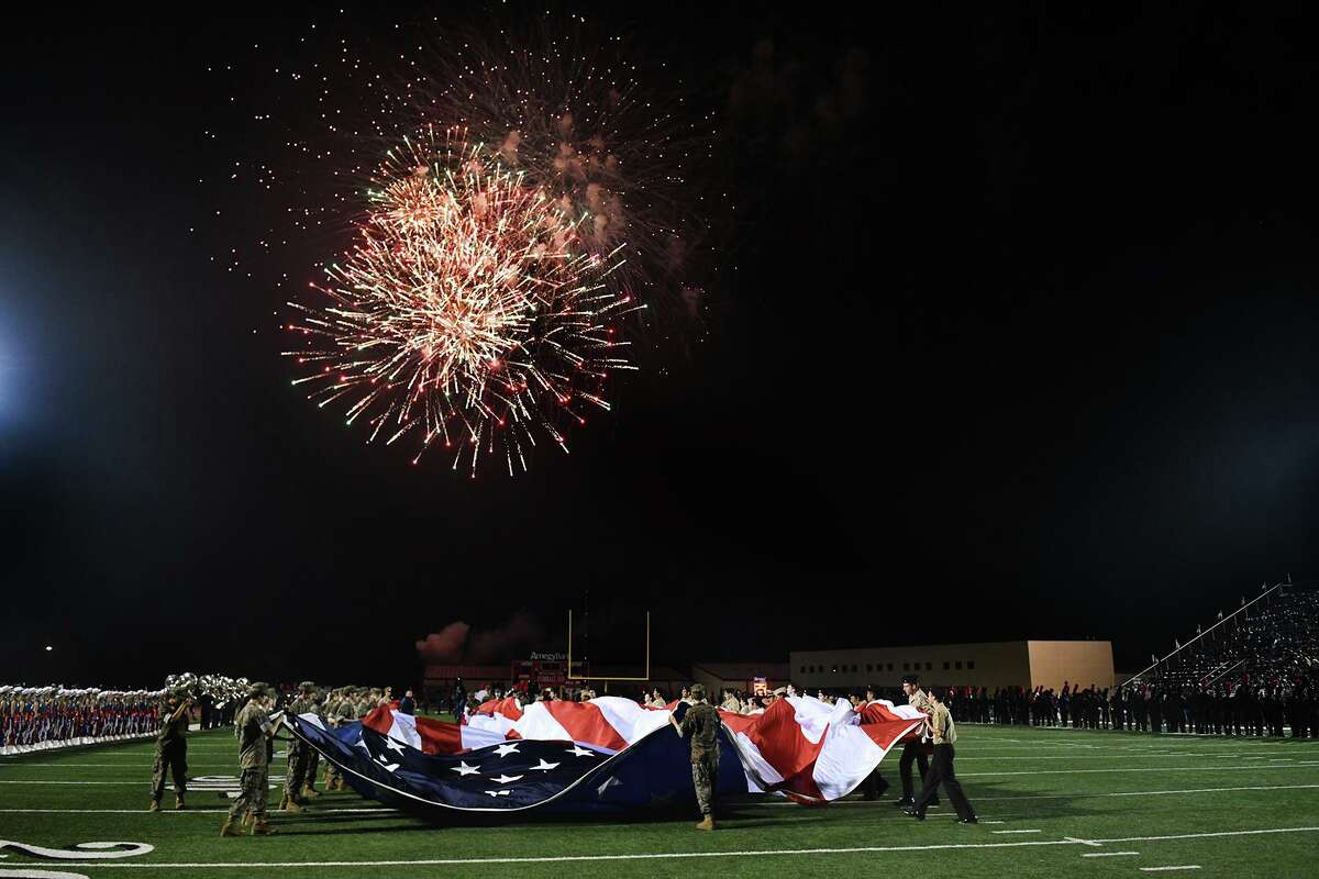 A fireworks show lights up the sky over Tomball Stadium during halftime of the non-district football season opener between Tomball Memorial and Tomball at Tomball Stadium on August 30, 2019.