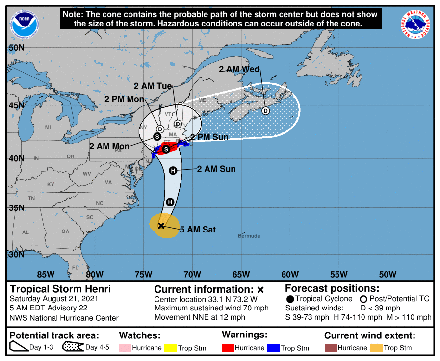 A map showing the center of Tropical Storm Henri near latitude 33.1 north, longitude 73.2 west.