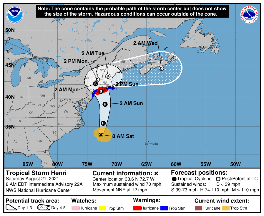 A map showing the center of Tropical Storm Henri near latitude 33.6 north, longitude 72.7 west.