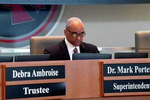 Superintendent Dr. Mark Porterie gets the meeting underway after Taylor Getwood and others were sworn in o office with the Port Arthur ISD Board of Trustees during Tuesday's meeting. Getwood is the youngest person ever elected to serve on the school board. Photo made Tuesday,  May 11, 2021 Kim Brent/The Enterprise