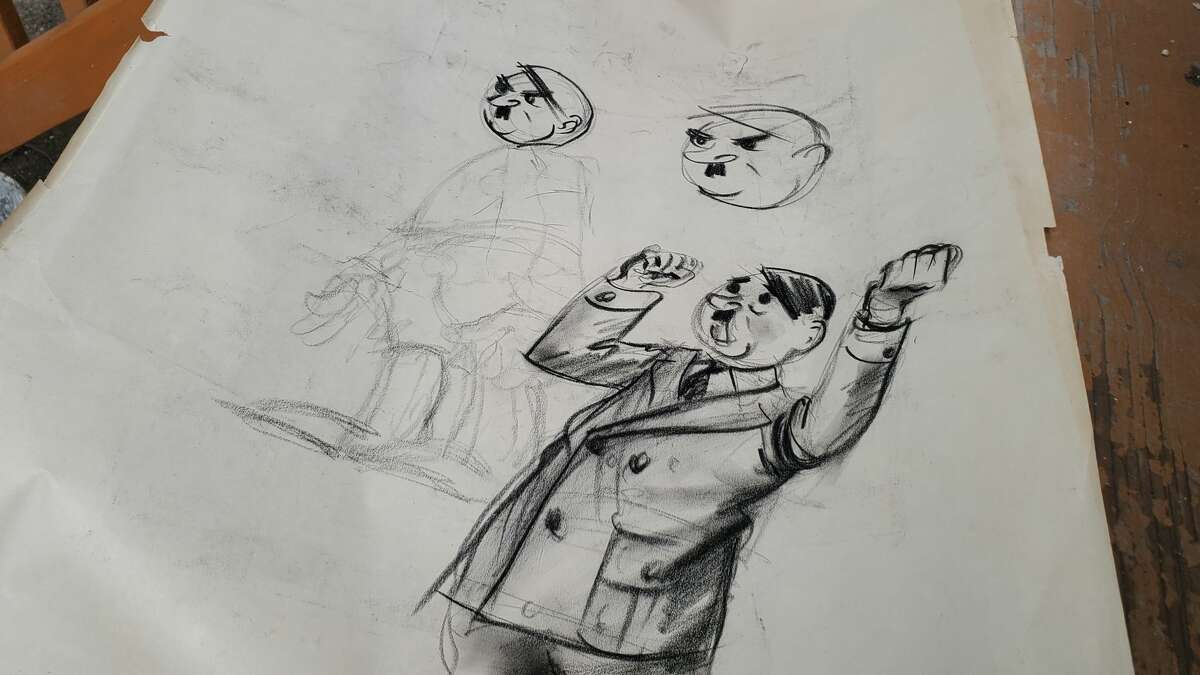 Early sketches of Adolf Hitler by former Times Union columnist Hy Rosen. Albany resident James Chaney found the drawing in a home he owns in Albany's South End.