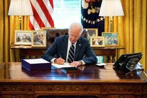 President Joe Biden in the Oval Office of the White House.