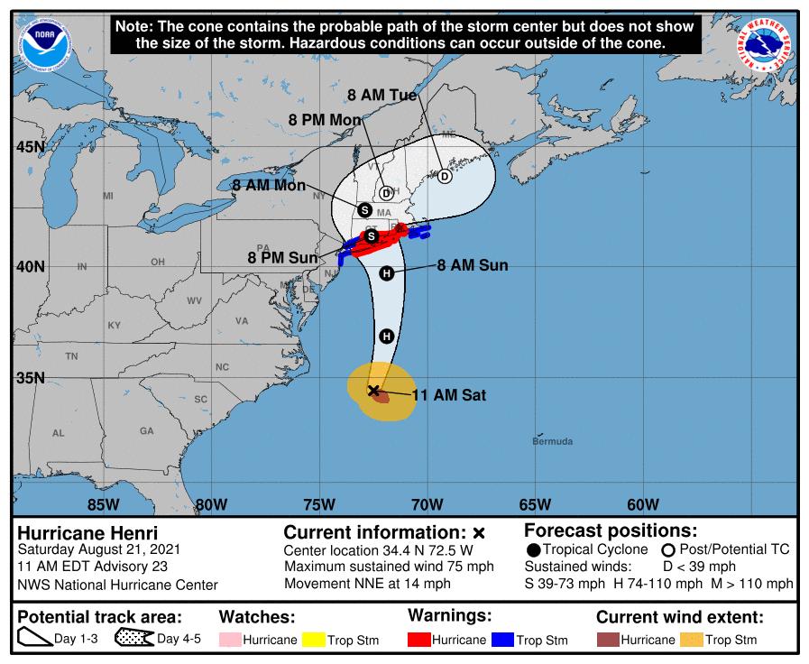 A map showing the center of Hurricane Henri near latitude 34.4 north, longitude 72.5 west.