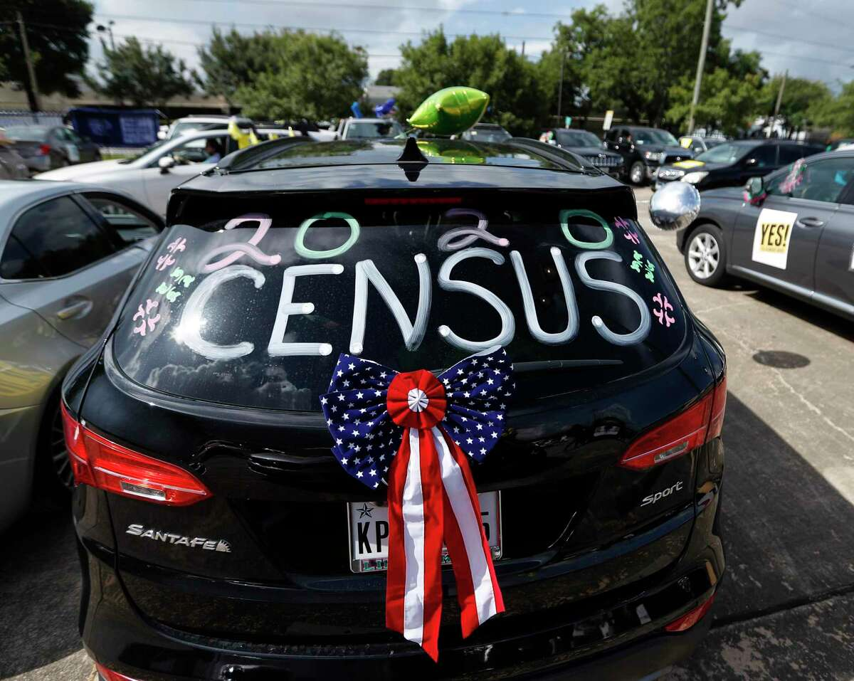 """A car decorated with """"2020 Census"""" during a """"Census Caravan"""" car parade through Fifth Ward, decorated vehicles encouraging people to complete the census, and were joined by Mayor Sylvester Turner and Congresswoman Sheila Jackson Lee, Saturday, July 18, 2020, in Houston."""