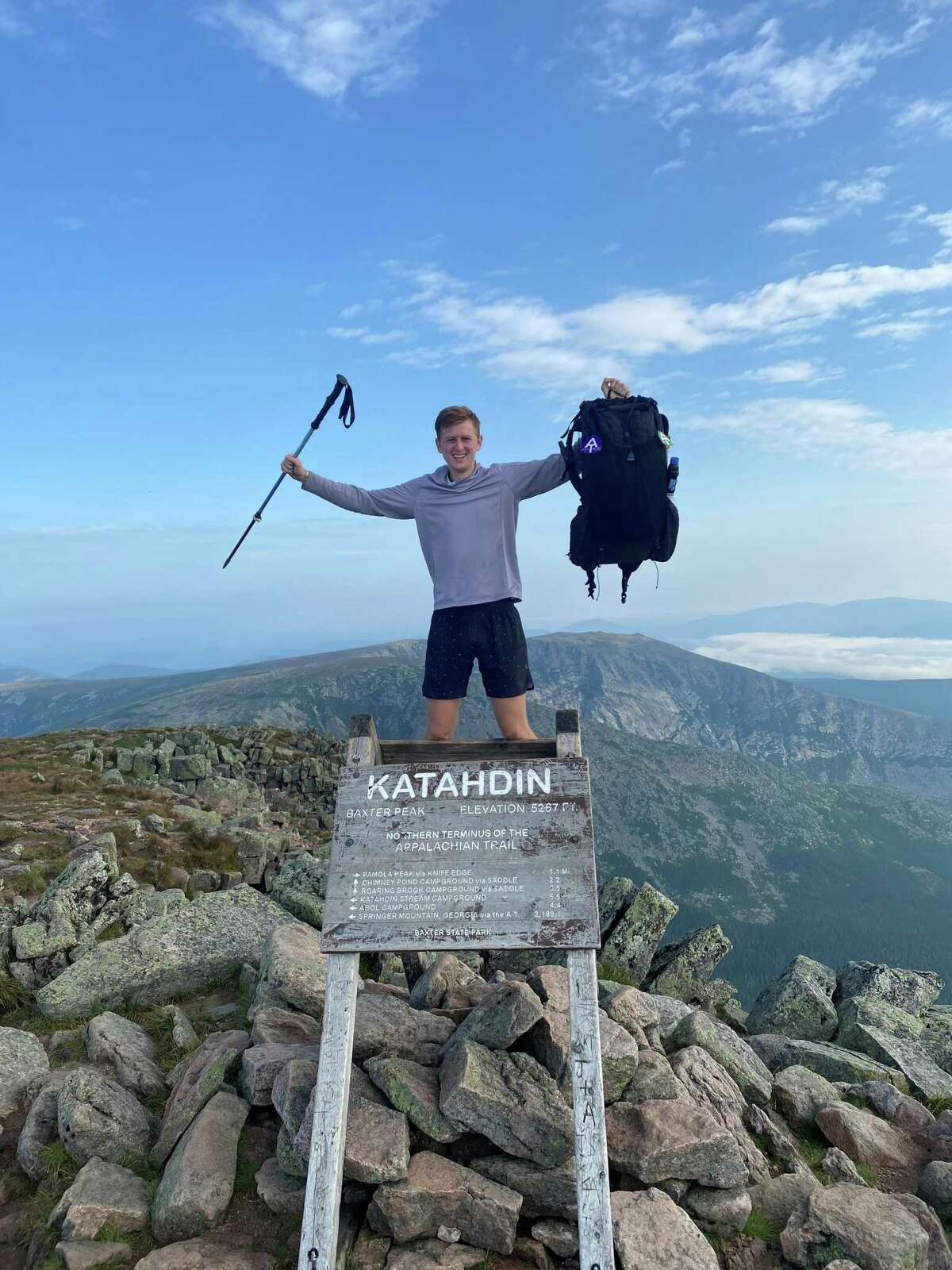 Zachary Neschich, a 2017 Clear Falls High School graduate, stands atop Mt. Katahdin in Maine on Aug. 10, ending his five-month hike of 2,190 miles.