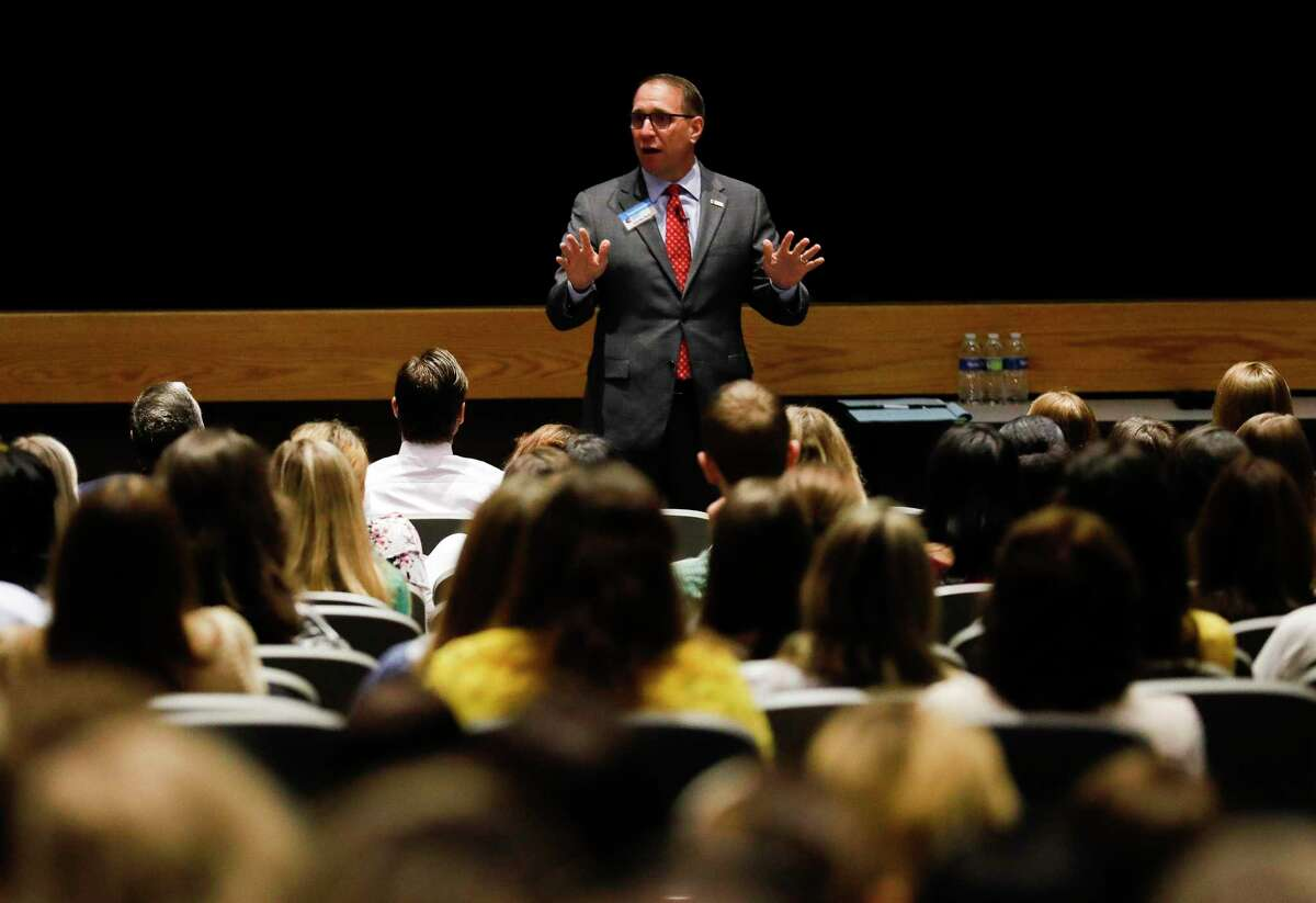 Conroe ISD Superintendent Curtis Null welcomes new teachers during orientation at Grand Oak High School on July 28. The district hired more than 600 teachers for the upcoming school year. CISD increased its COVID-19 threat level to four the second week of school. Level five could include closing campuses if there is not enough staff to maintain school.