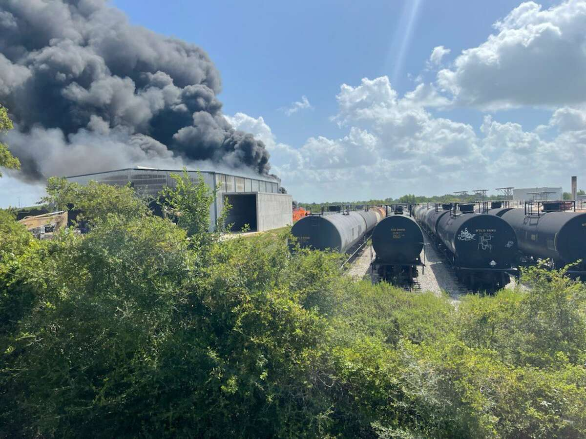 Authorities responded Saturday to a fire at a recycling plant in Hockley. People within a half mile were asked to evacuate.
