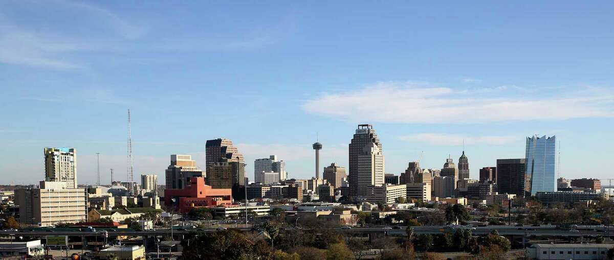 A view of San Antonio's skyline is shown from Villa Tranchese in 2019.