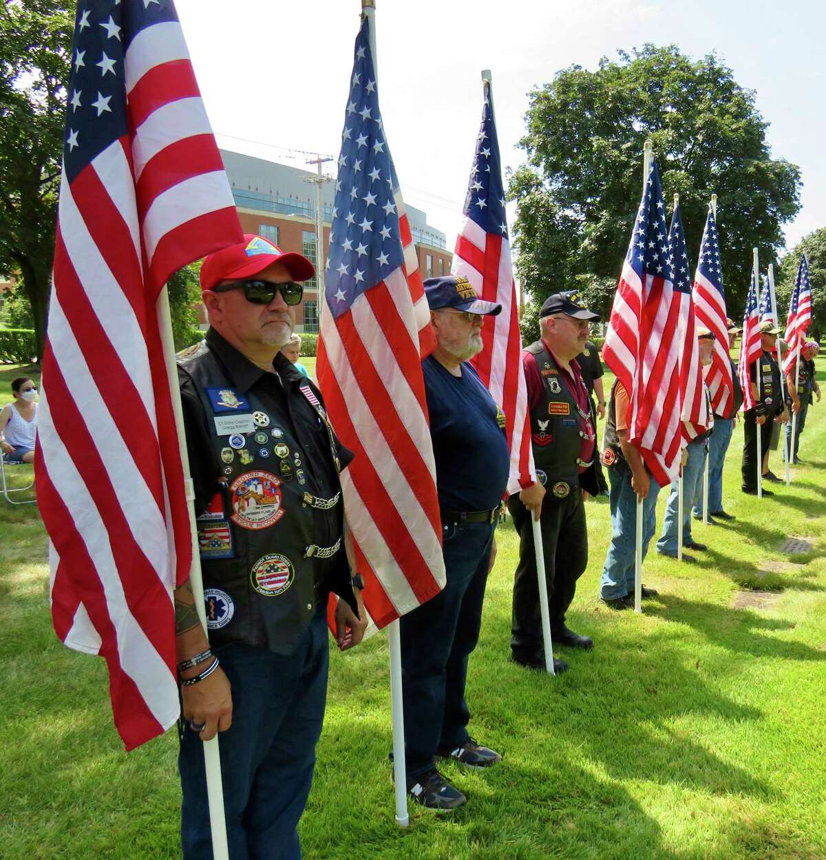 The Connecticut Patriot Guard Riders at the military funeral for Sgt. John E. Hurlburt, who was killed in action during World War II, and laid to rest last Saturday in New Haven.