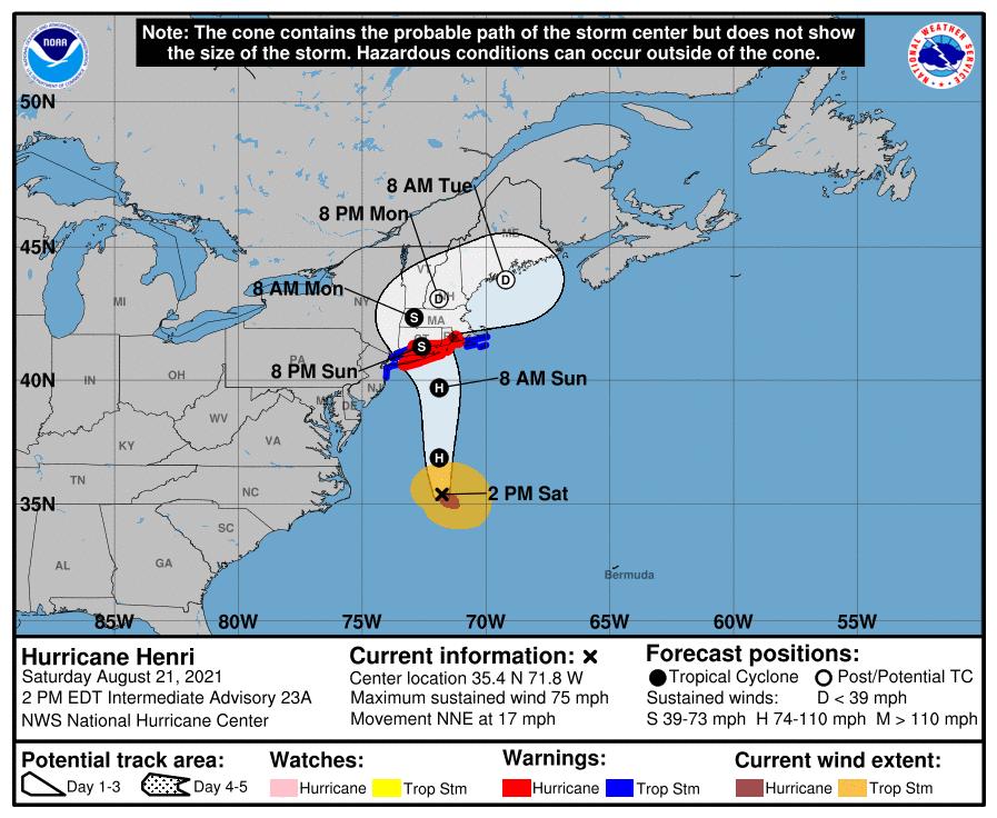 A map showing the center of Hurricane Henri near latitude 35.4 north, longitude 71.8 west.