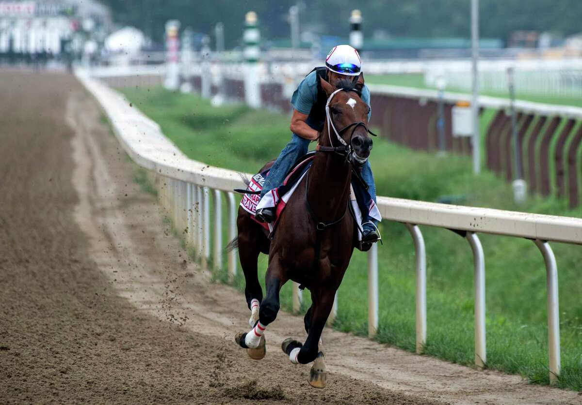Keepmeinmind puts in his final work Saturday Aug 21, 2021 before his appearance in the Travers Stakes net week at the Saratoga Race Course in Saratoga Springs, N.Y. Photo Special to the Times Union by Skip Dickstein