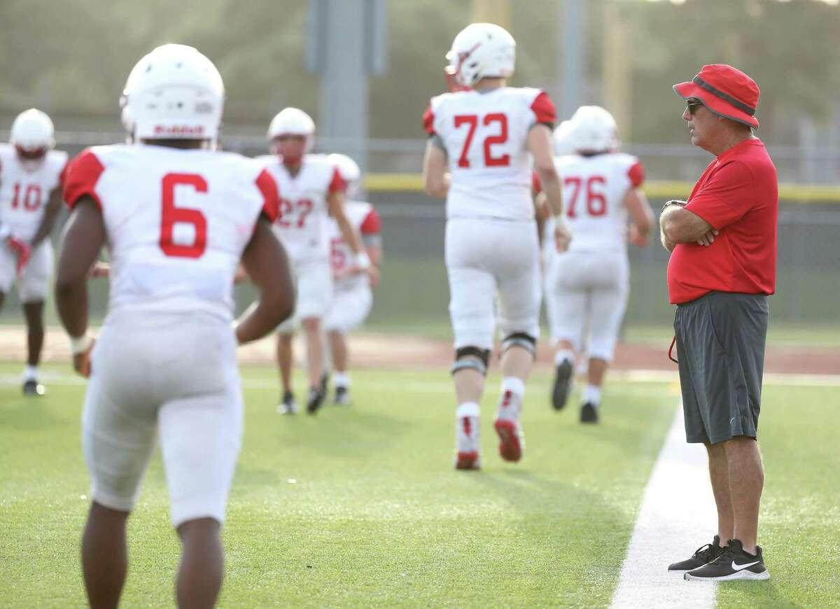 Katy High School head coach Gary Joseph during a high school football scrimmage between Katy High School and Klein Collins at Klein Collins High School, Thursday, August 19, 2021, in Spring.