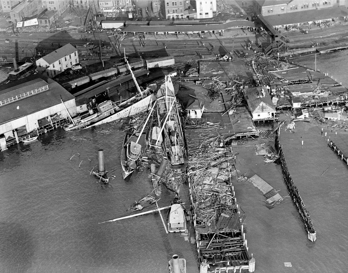 In this Sept. 1938 photo, damaged boats line the New London, Conn., waterfront following the deadly hurricane of 1938 which hit the Northeast.