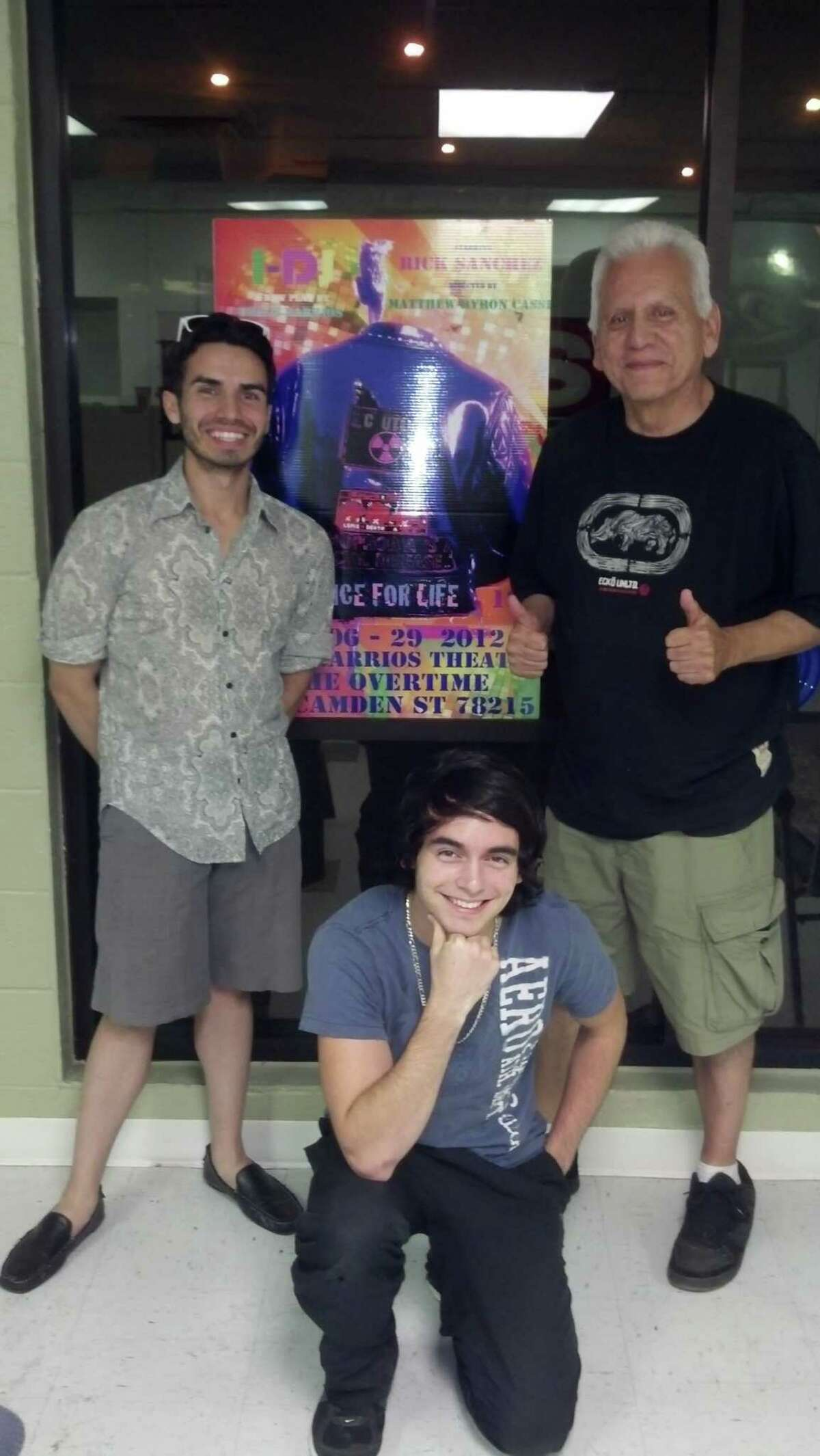 """Rick Sanchez (from left) and Dominique Tijerina appeared in the Overtime Theater's premiere of """"I-DJ,"""" which was written by Gregg Barrios."""