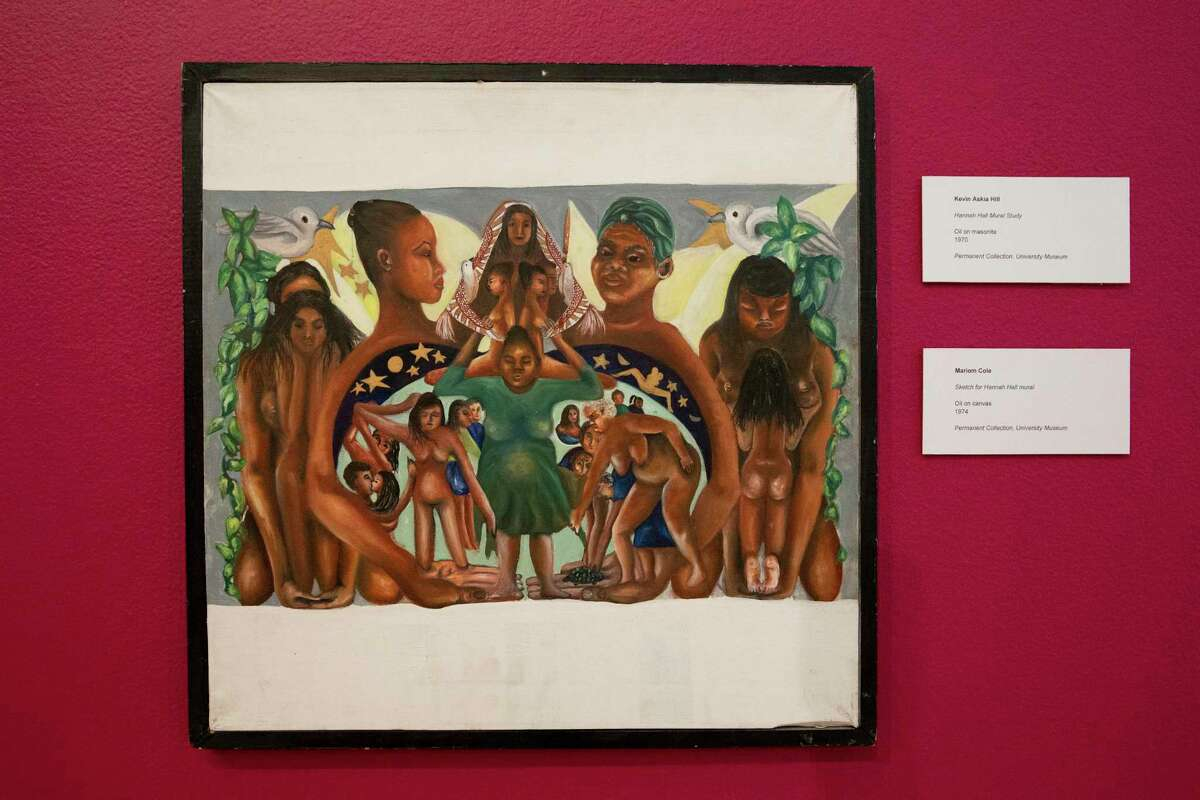 """The """"Levels & Layers: An Artist's Reflections on Third Ward"""" exhibition at Texas Southern University Saturday, Aug. 21, 2021, in Houston. Art by Mariom Cole."""