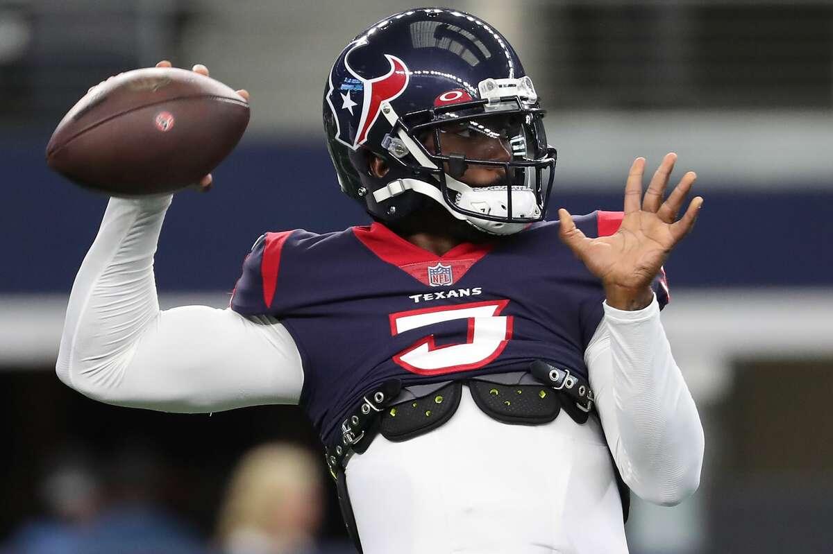 Houston Texans quarterback Tyrod Taylor throws warm passes before an NFL pre-season football game Saturday, Aug. 21, 2021, in Arlington.