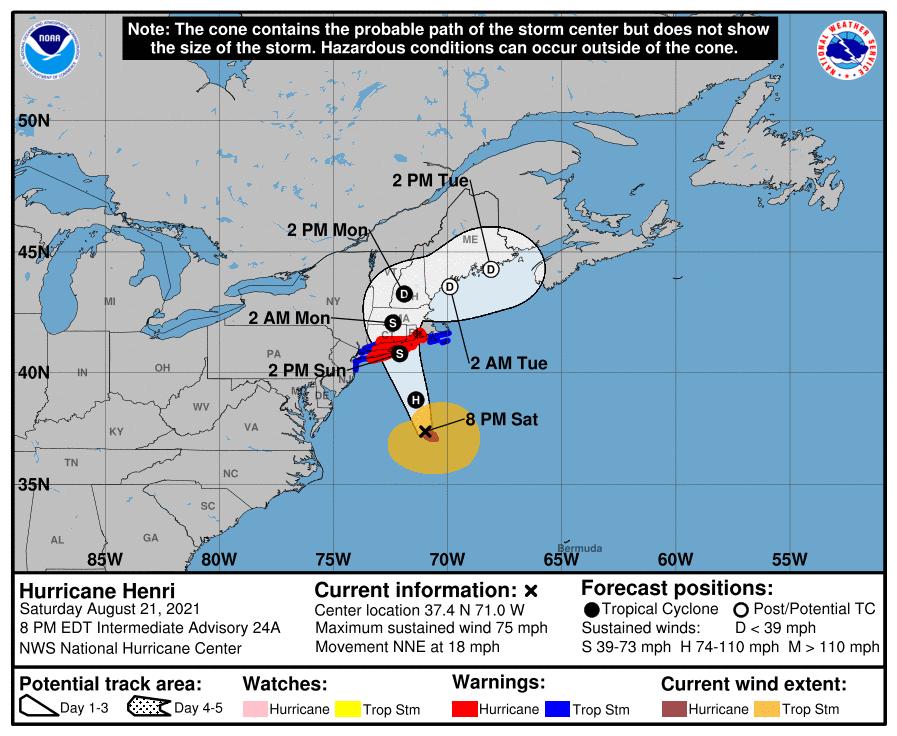A map showing the center of Hurricane Henri near latitude 37.4 north, longitude 71.0 west.