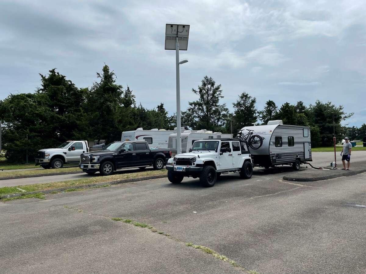Campers prepare to leave Hammonasset Beach State Park in preparation of Hurricane Henri.