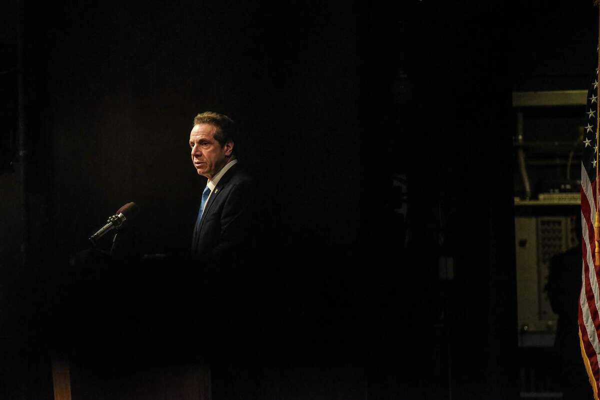 """FILE -- Gov. Andrew Cuomo delivers his State of the State address in Albany, N.Y., Jan. 15, 2019. """"One great lesson the Cuomo debacle should teach the voting public is to never elect executives for more than two terms. Not only does their political life tend to atrophy; their nonoffice personal life fades away. We're all they've got,"""" writes The New York Times opinion columnist Gail Collins. (Stephanie Keith/The New York Times)"""