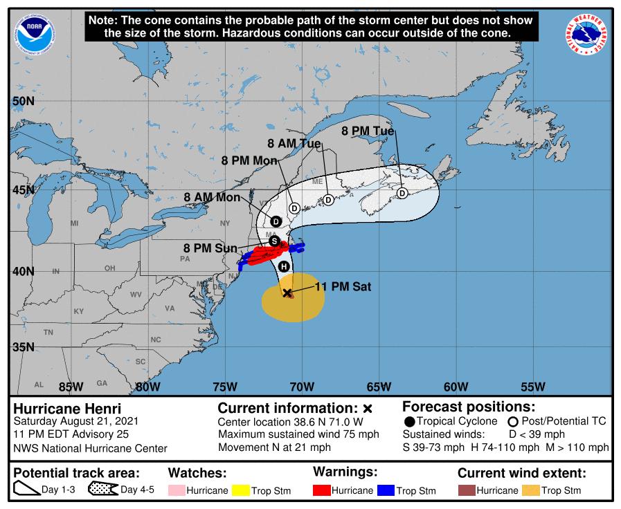 A map showing the center of Hurricane Henri near latitude 38.6 north, longitude 71.0 west.