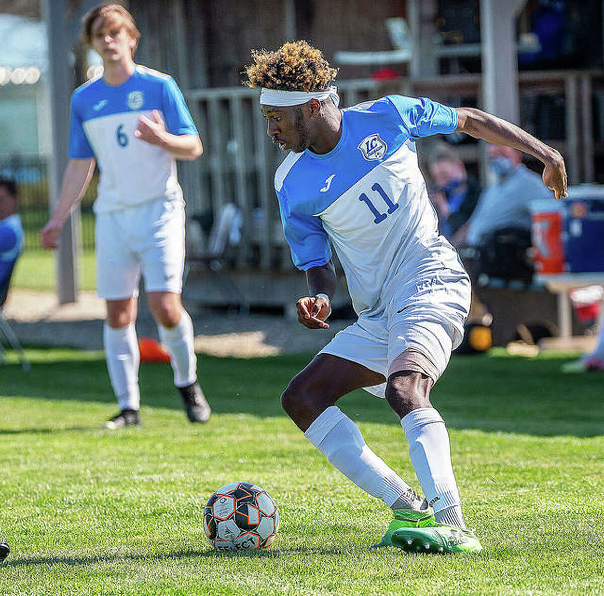 LCCC's Tyriq Gordon (11) a third-year sophomore from London, England, scored three goals and led the Trailblazers to a 6-1 victory over Oakton Community College Saturday evening in Des Plains.