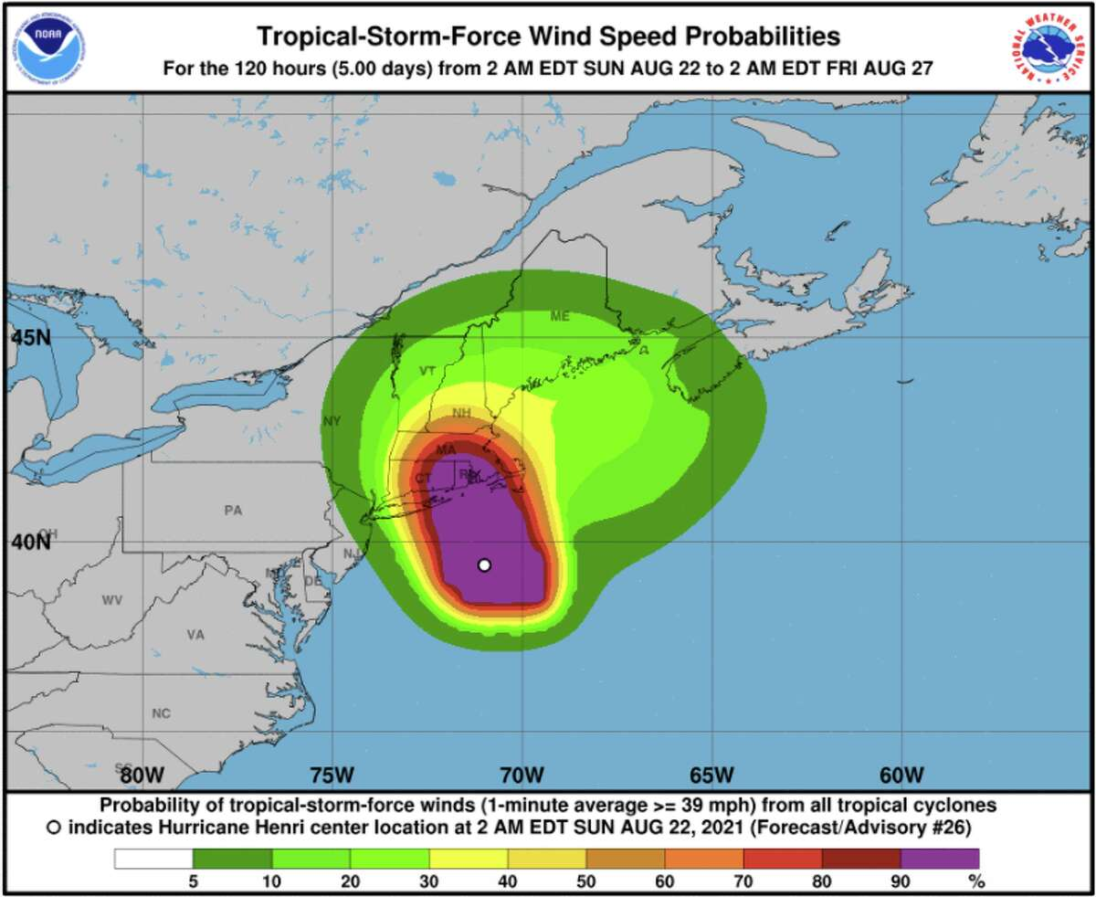 Wind speed possibilities for Henri, Aug. 22, 2021.
