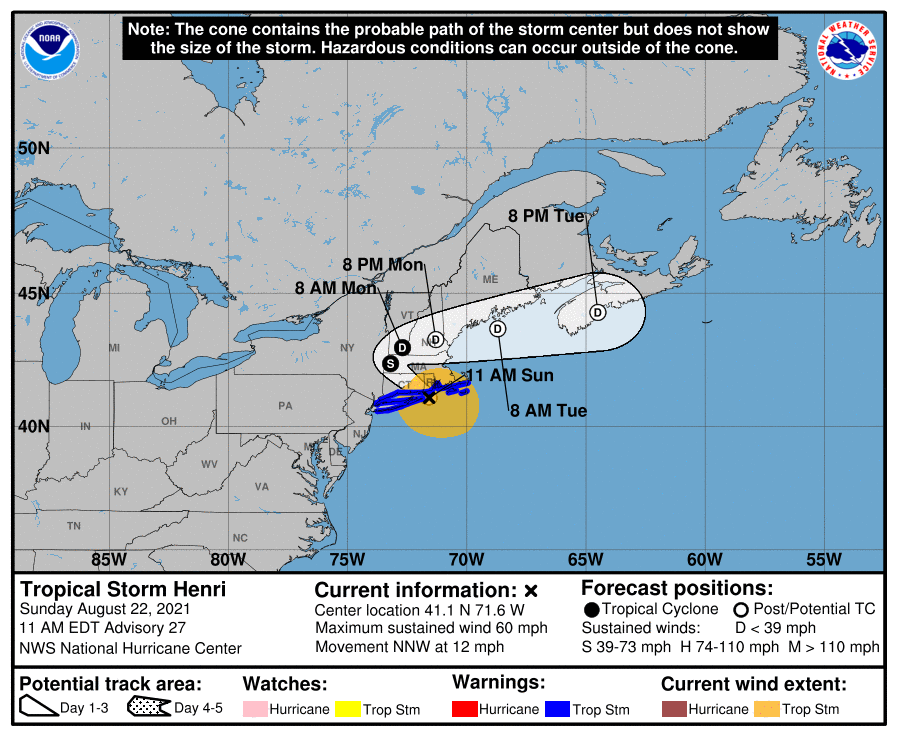A map showing the center of Tropical Storm Henri near latitude 41.1 north, longitude 71.6 west.