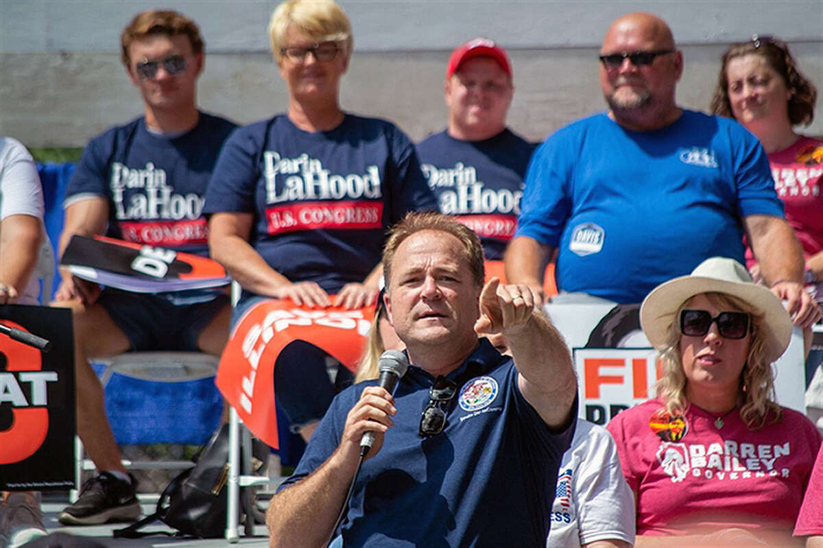 Senate Republican Leader Dan McConchie speaks last week during Republican Day at the Illinois State Fair. He and House Minority Leader Jim Durkin asked a judge to void Democrat-drawn legislative maps in their latest legal filing, while Democrats have asked that the case be dismissed or adjourned until after they approve changes to the maps at the end of the month.