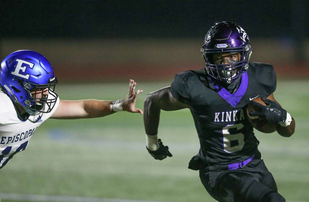 Kinkaid Falcons running back Dillon Bell (6) rushes against Episcopal Knights defensive back Miles Jones (10) in the first quarter of a game on November 6, 2020 at Segal Field at Barnard Stadium in Houston, TX.