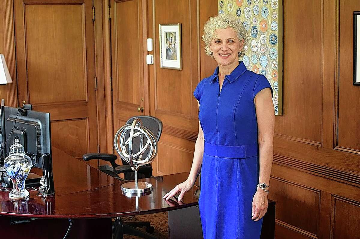 Barbara Farley in the president's office at Illinois College.