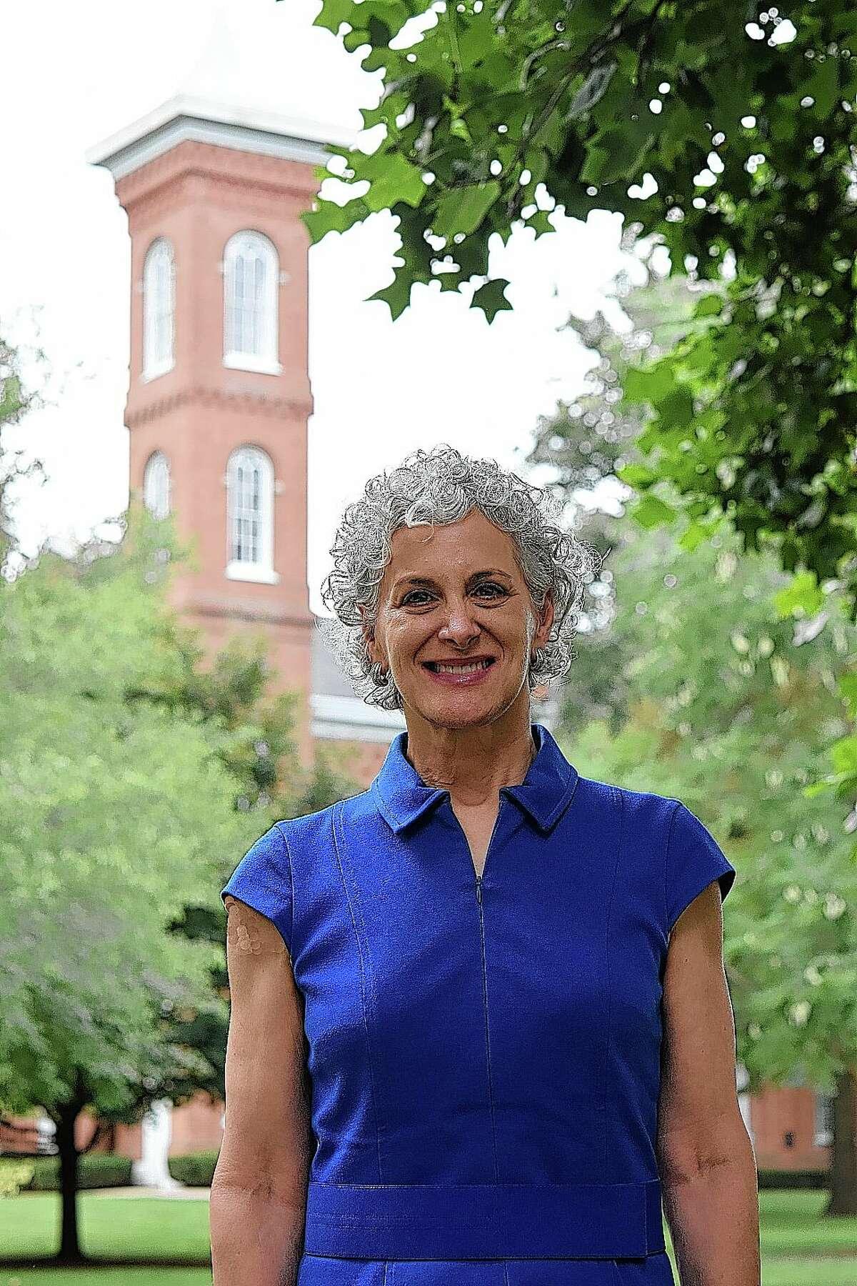 Barbara Farley on the Illinois College campus.