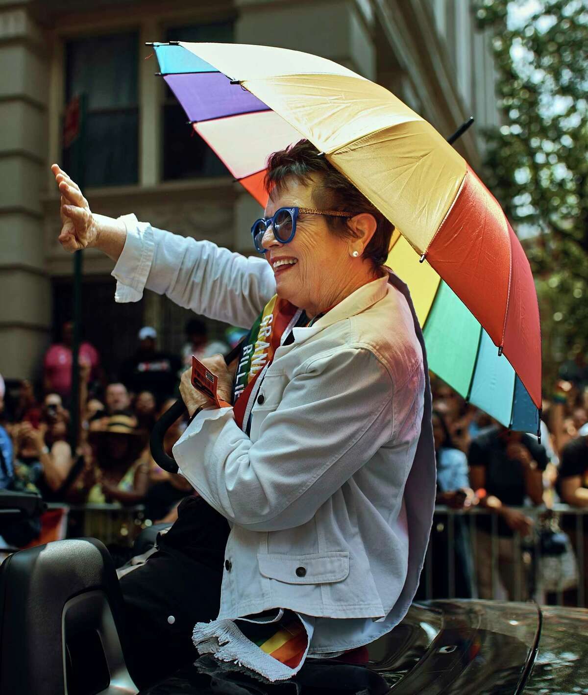 Tennis legend Billie Jean King, one of the grand marshals, waves to the crowd during the New York City Pride Parade, Sunday, June 24, 2018.