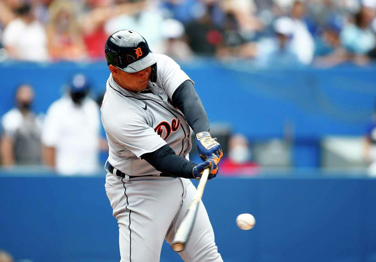 TORONTO, ON - AUGUST 22: Miguel Cabrera #24 of the Detroit Tigers hits his 500th career home run in the sixth inning during a MLB game against the Toronto Blue Jays at Rogers Centre on August 22, 2021 in Toronto, Ontario, Canada. (Photo by Vaughn Ridley/Getty Images)
