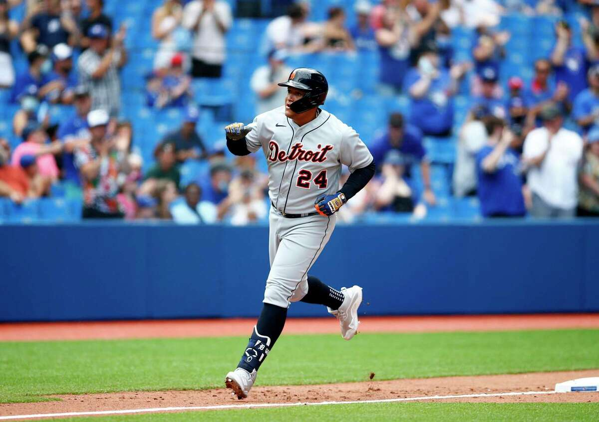 TORONTO, ON - AUGUST 22: Miguel Cabrera #24 of the Detroit Tigers celebrates after hitting his 500th career home run in the sixth inning during a MLB game against the Toronto Blue Jays at Rogers Centre on August 22, 2021 in Toronto, Ontario, Canada. (Photo by Vaughn Ridley/Getty Images)