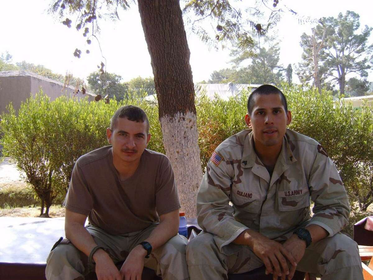 Ricardo Quijano, right, is pictured with his best friend Juan Carlos Garza in Jalalabad, Afghanistan.