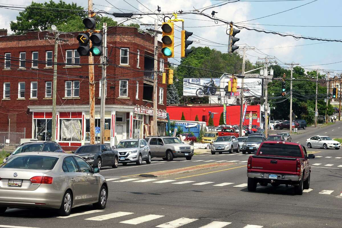 The busy intersection where Boston Ave. intersects with both Seaview Ave. and Bond St., in Bridgeport, Conn. July 28, 2021.
