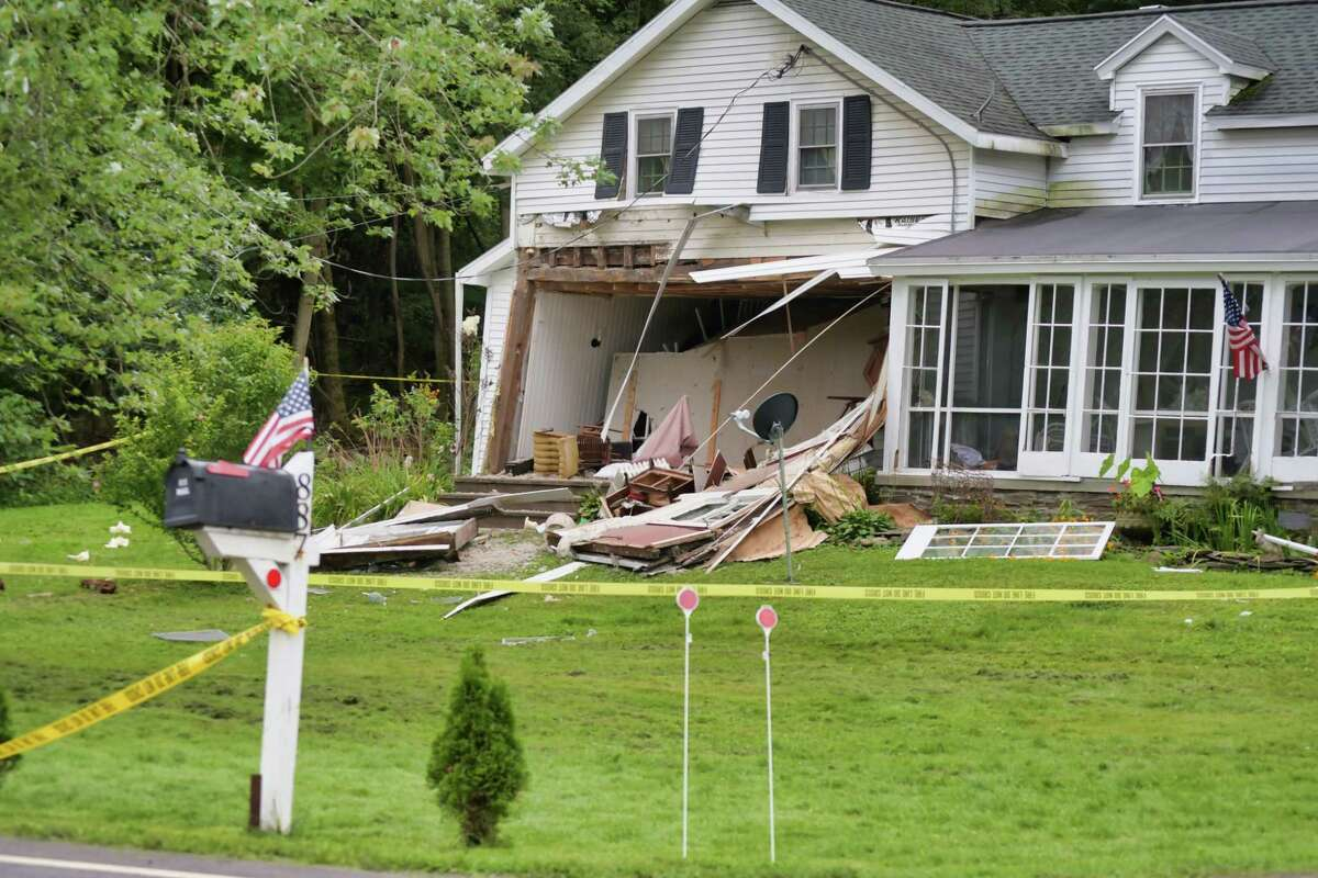 A view of a home on Sacandaga Rd., which was damaged by an explosion on Sunday, Aug. 22, 2021, in Glenville, N.Y.