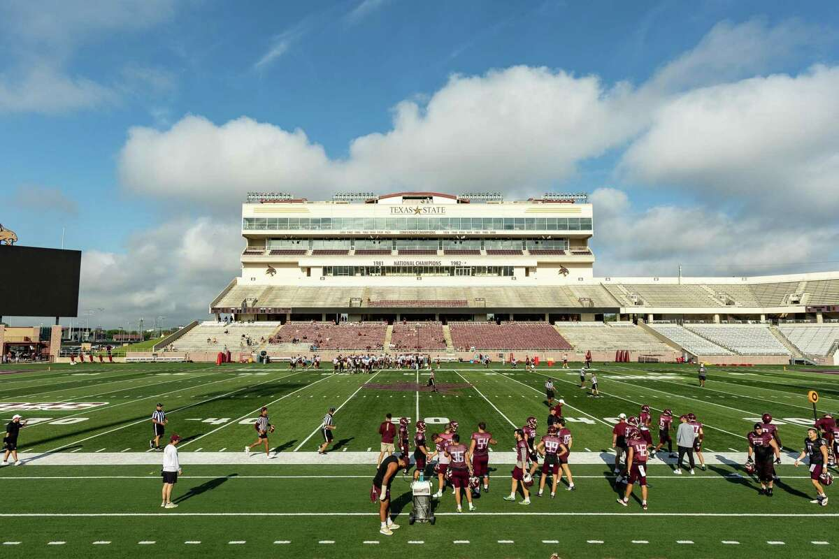 The sun shines on Bobcat Stadium at Texas State University during an inter-squad scrimmage on Saturday, August 14, 2021, in San Marcos, TX. (Jordan Vonderhaar/Contributor)